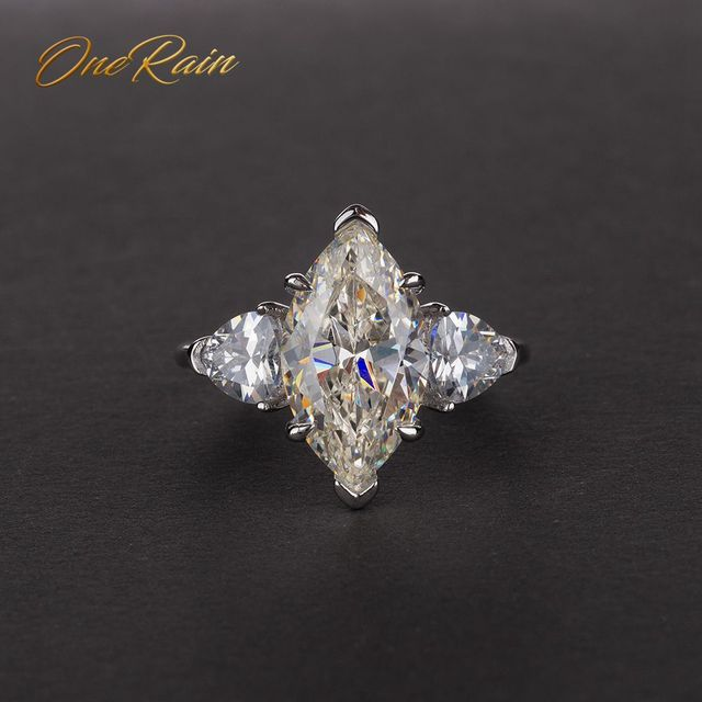 OneRain Vintage 100% 925 Sterling Silver Mariquesa Sapphire Topaz Citrine Wedding Engagement Couple Lover Women Men Ring Jewelry