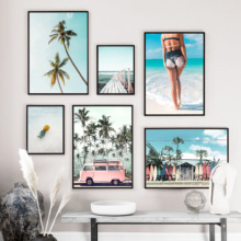 Pink Bus Sea Beach Girl Coconut Palm Tree Wall Art Canvas Painting Nordic Posters And Prints Wall Pictures For Living Room Decor coconut palm tree beach wall art canvas painting nordic landscape posters and prints wall pictures for living room unframed