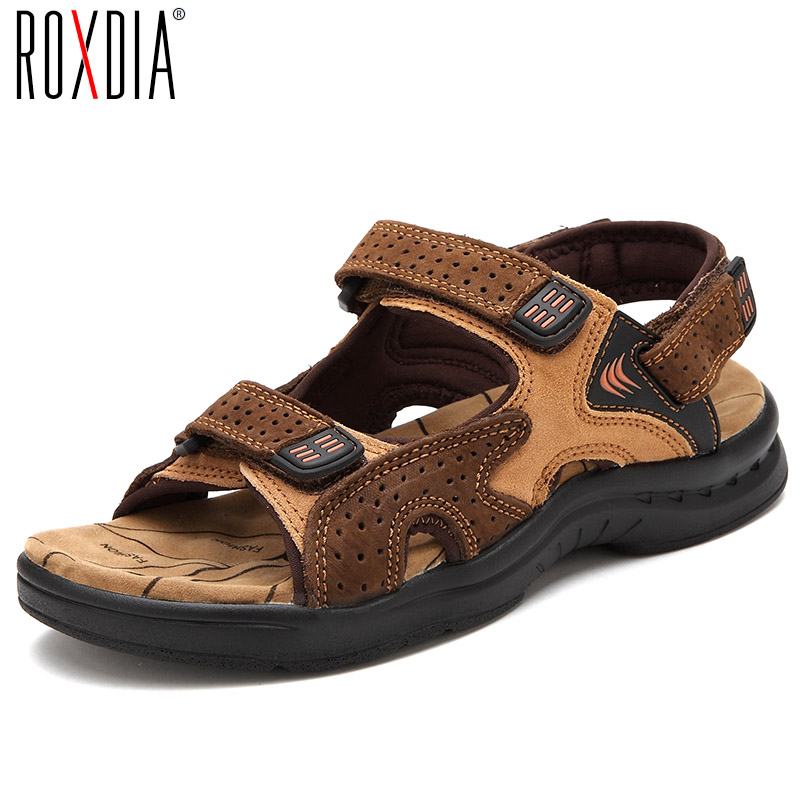 ROXDIA Genuine Leather New Fashion Summer Breathable Men Sandals Beach Shoes Men s Causal Shoes Plus