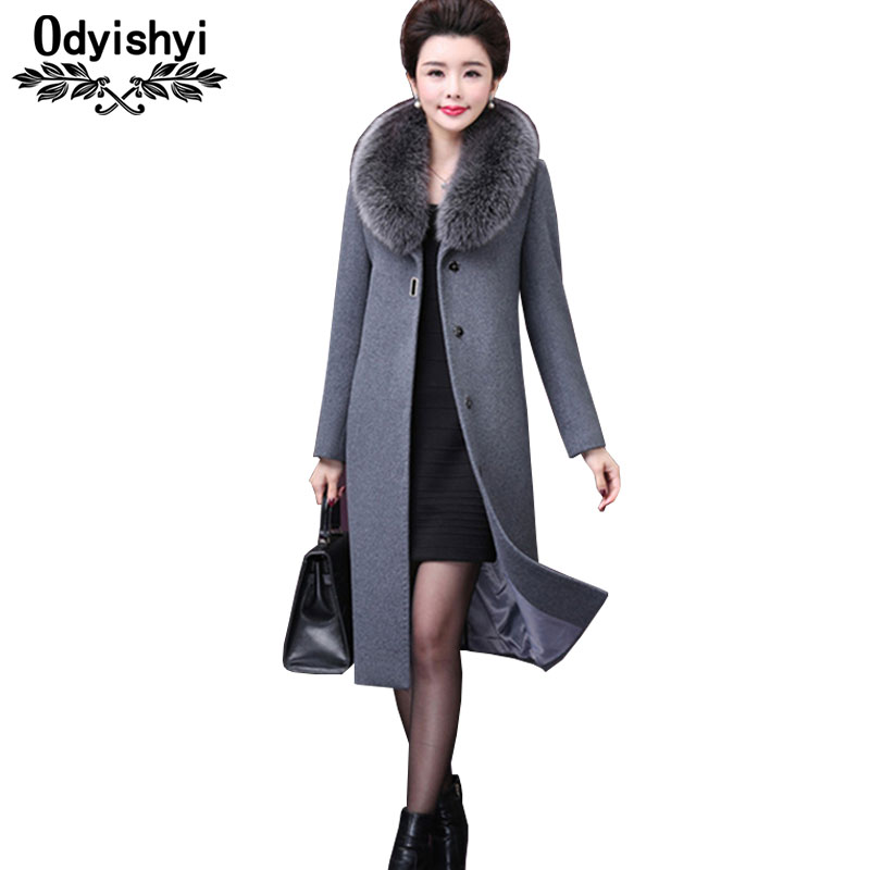 Winter Wool Coat Women Plus Size Long Outerwear Warm Fur Collar Single Breasted Mother Elegant Slim