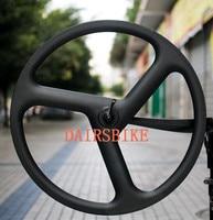 Free Shipping Carbon 3 Spoke Wheel 700c Fixed Gear Spokes Carbon Wheels 3k 23mm Width Cycling