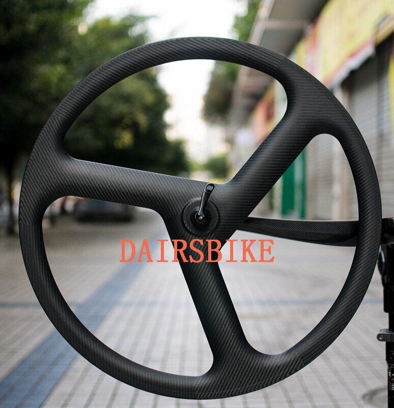 Livraison gratuite Carbone 3 Roue à Rayons 700c Pignon Fixe Rayons Carbone Roues 3 k 23mm Largeur Vélo Roues vélo roues
