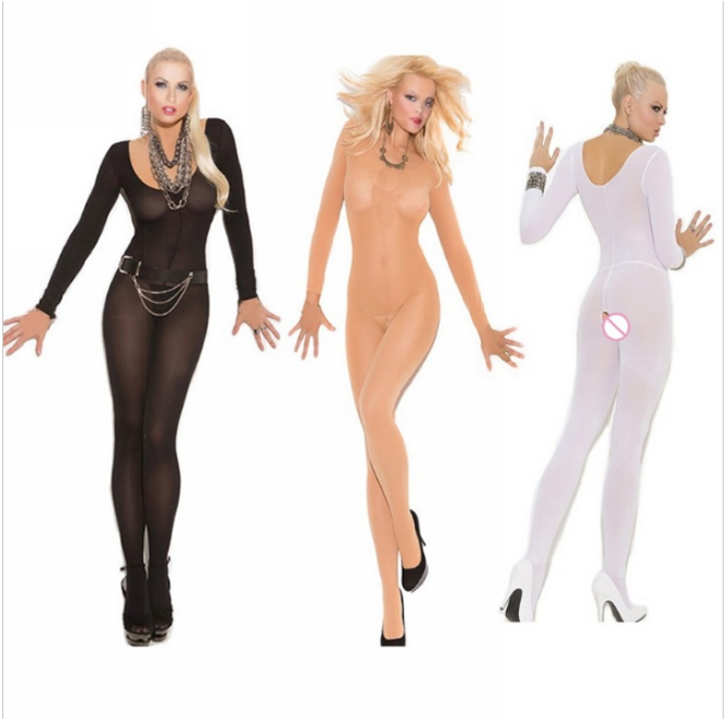 Crotchless Sheer Bodystocking Full Body Pantyhose Ultra-thin Transparent  Long-sleeve Open Crotch  Strap Tights Stocking