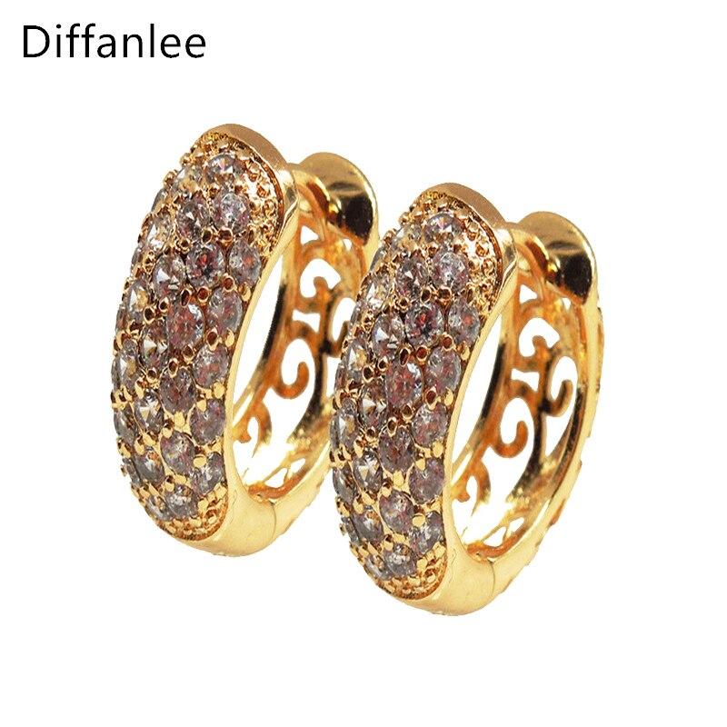 766198f9b4aa Diffanlee alta calidad pendientes de cristal redondos para mujeres  pendientes de aro de oro-color cubic zirconia joyería de moda pendientes