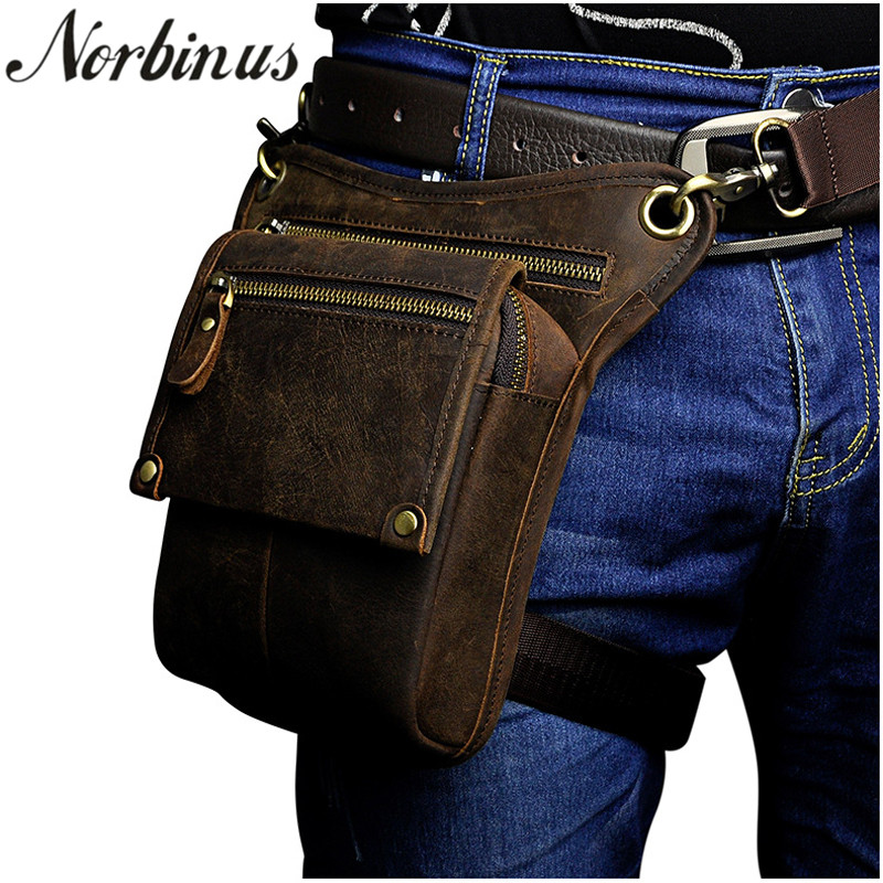 Norbinus Men Genuine Leather Waist Bag Fanny Pack Messenger Shoulder Bags Male Travel Hip Bum Belt Bag Motorcycle Drop Leg Bag
