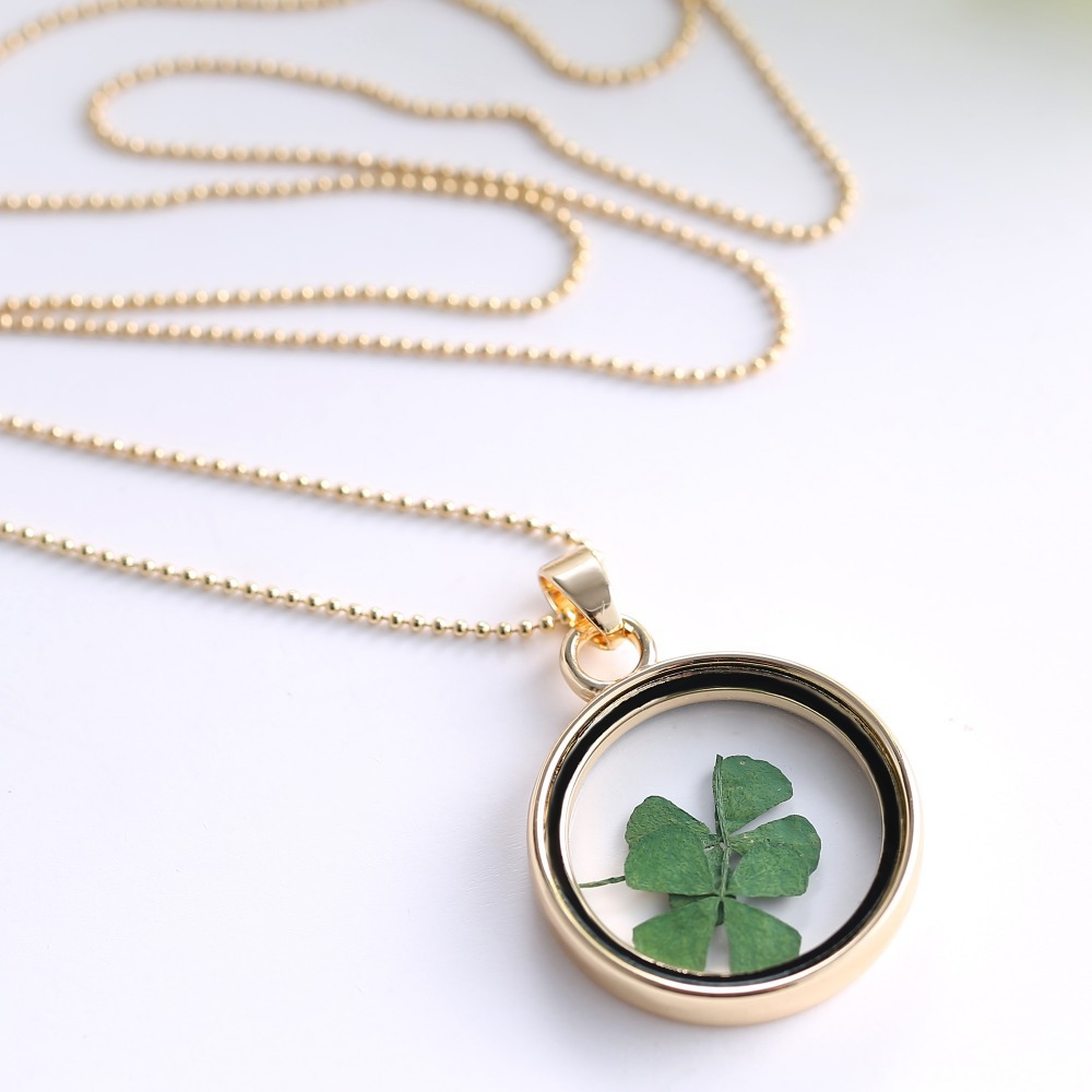 bling four sterling silver necklace jewelry clover pendant luck leaf good inches