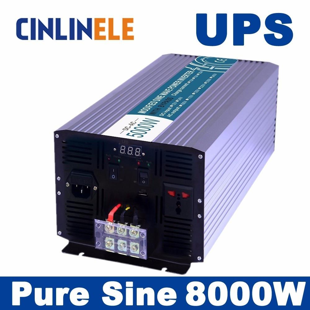 Universal inverter UPS+Charger 8000W CLP8000A Pure Sine Wave Inverter DC 12V 24V 48V to AC 110V 220V 8000w Surge Power 16000W universal inverter ups charger 1000w pure sine wave inverter clp1000a dc 12v 24v 48v to ac 110v 220v 1000w surge power 2000w