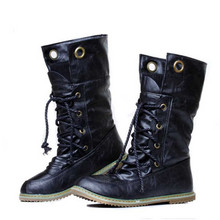Brand Women Motorcycle Boots Lace-Up Waterproof Winter Women Chelsea Boots High Top Snow Boots Plus Size X1136 35