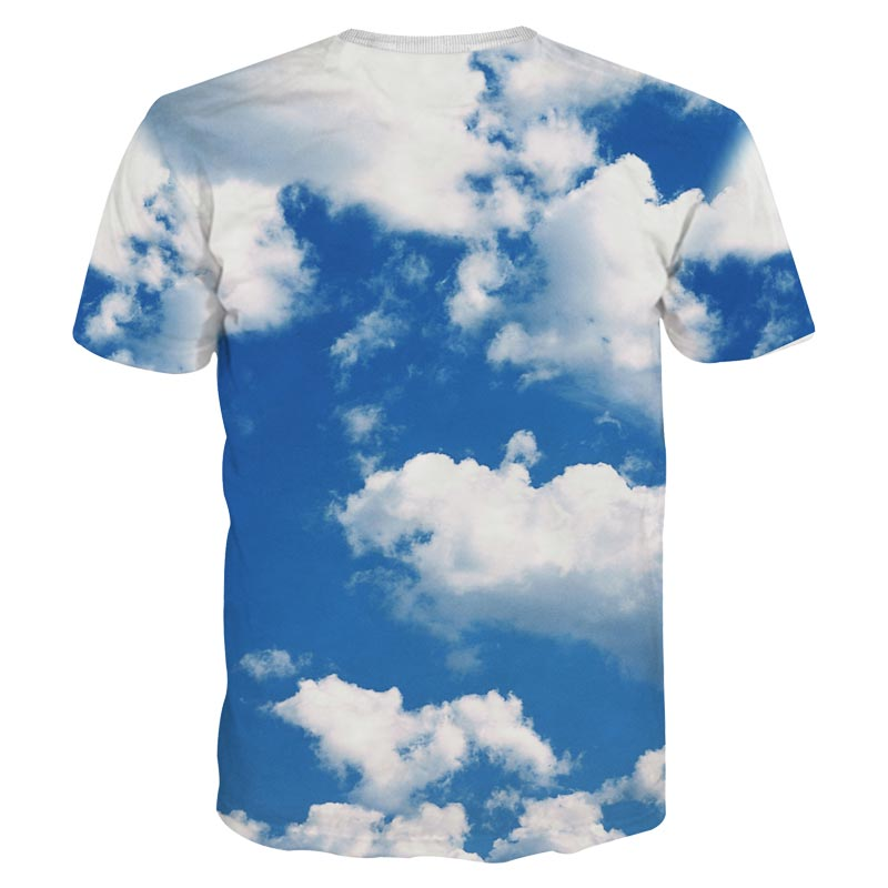 2017 Mr.1991INC New arrival Fashion Funny 3D t-shirt men/womens 3D Tshirt printed white clouds blue sky diamond T-shirt tops MD
