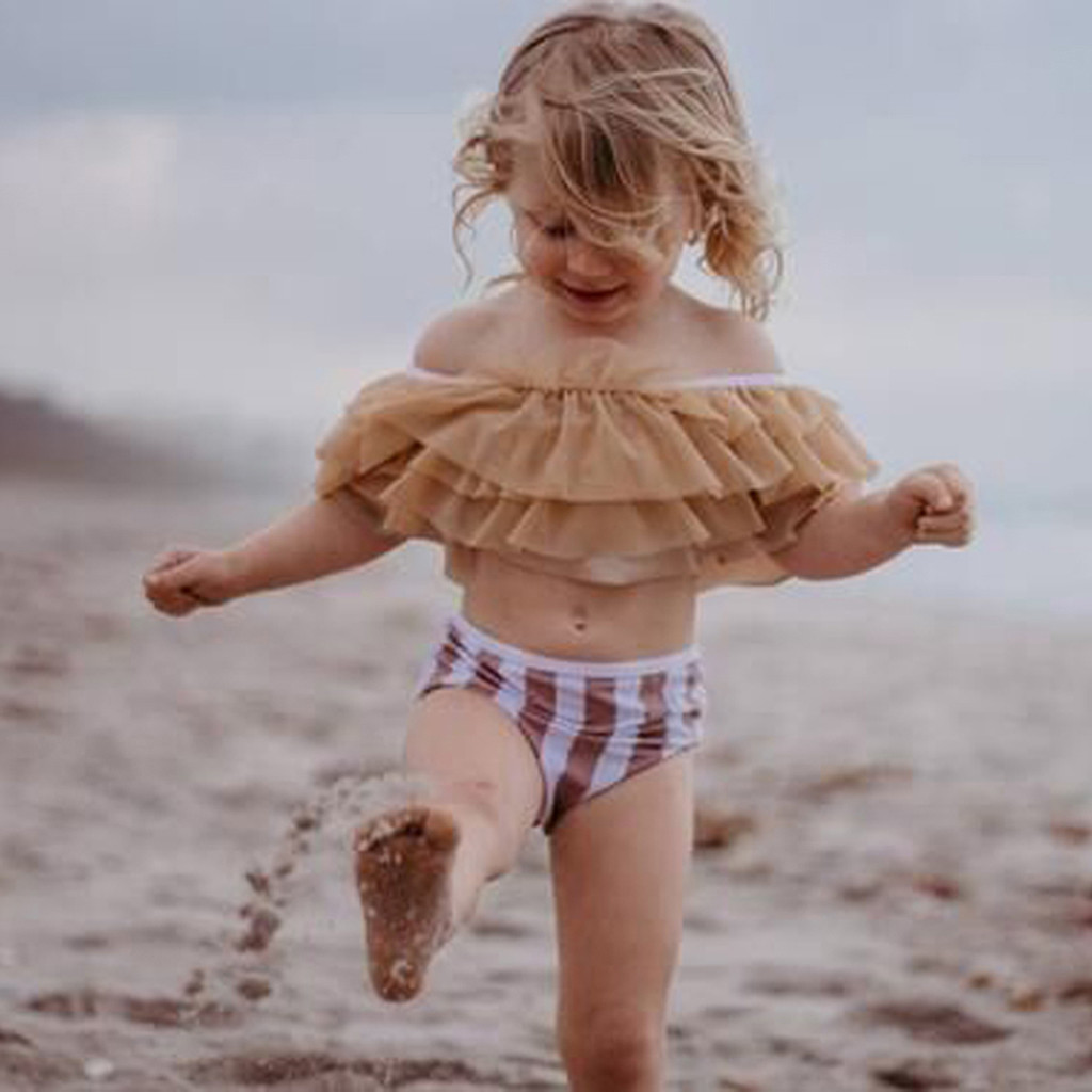 Baby Kids Girls Children Swim Two Piece Summer Kids Bikini Children'S Swimwear Tankini Ruffle Children Outfits stroj kapielowy