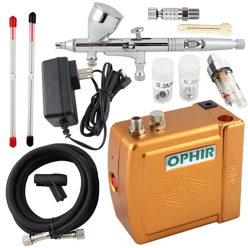 OPHIR Airbrush Kit avec Mini Compresseur D'air 0.2mm 0.3mm 0.5mm Aérographe Ensemble pour Modèle Passe-Temps Corps Peinture maquillage Outil _ AC003 + 070 + 011