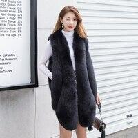 Осень зима 2019, новый меховой бархатный жилет средней длины с лисьим мехом для девочек, пальто с мехом на плече