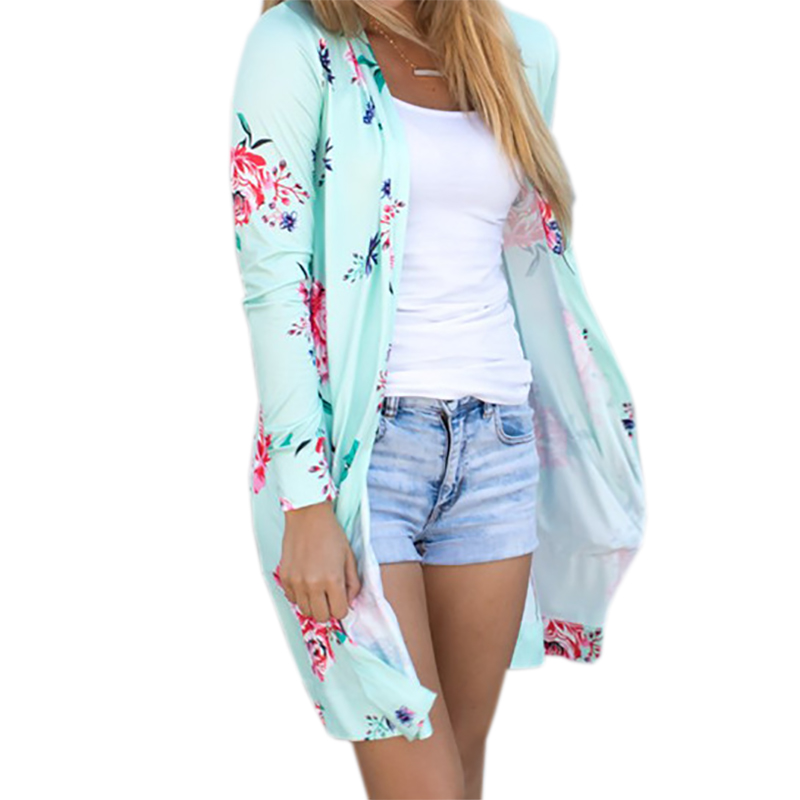 Summer Coat Woman Kimono Jacket Casual Floral Cardigans Jackets Long Sleeve Loose Coat Tops Tee Tunic Mujer Femme 2017 WS1105U