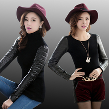 Women's vest down cotton turtleneck sweater sleeves thickening sweater leather basic female PU sleeve patchwork winter sweaters