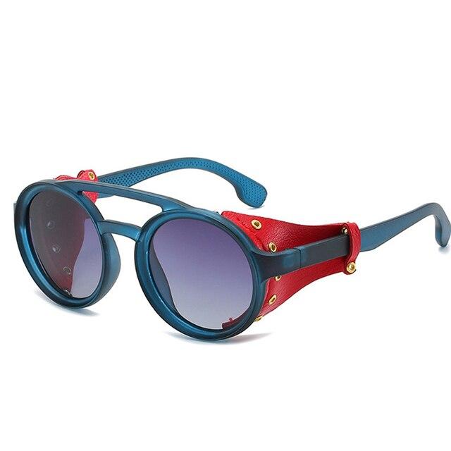 Gafas De Sol Goggle De diseño De marca 2019 gafas De Sol De cuero De moda con escudo lateral Steampunk gafas De Sol redondas hombres Vintage Oculos De Sol