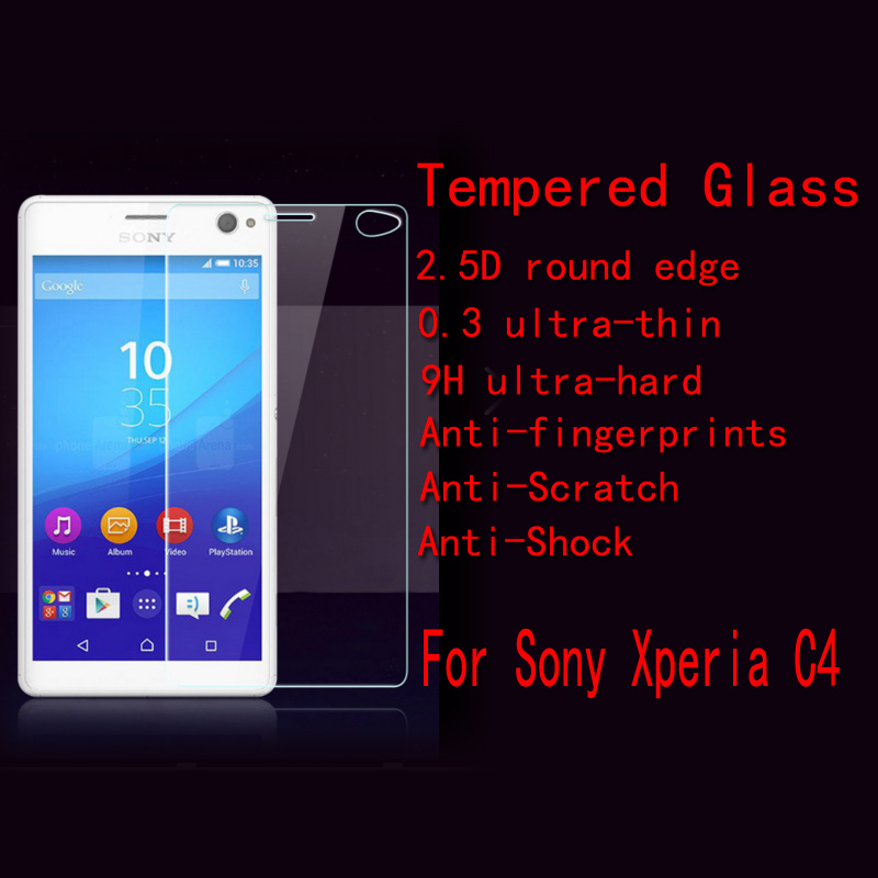 C4 Tempered Glass For Sony Xperia C4 (Sony C4) Super Clear Anti-burst screen Tempered Glass 2.5D edge Without  Retail Package