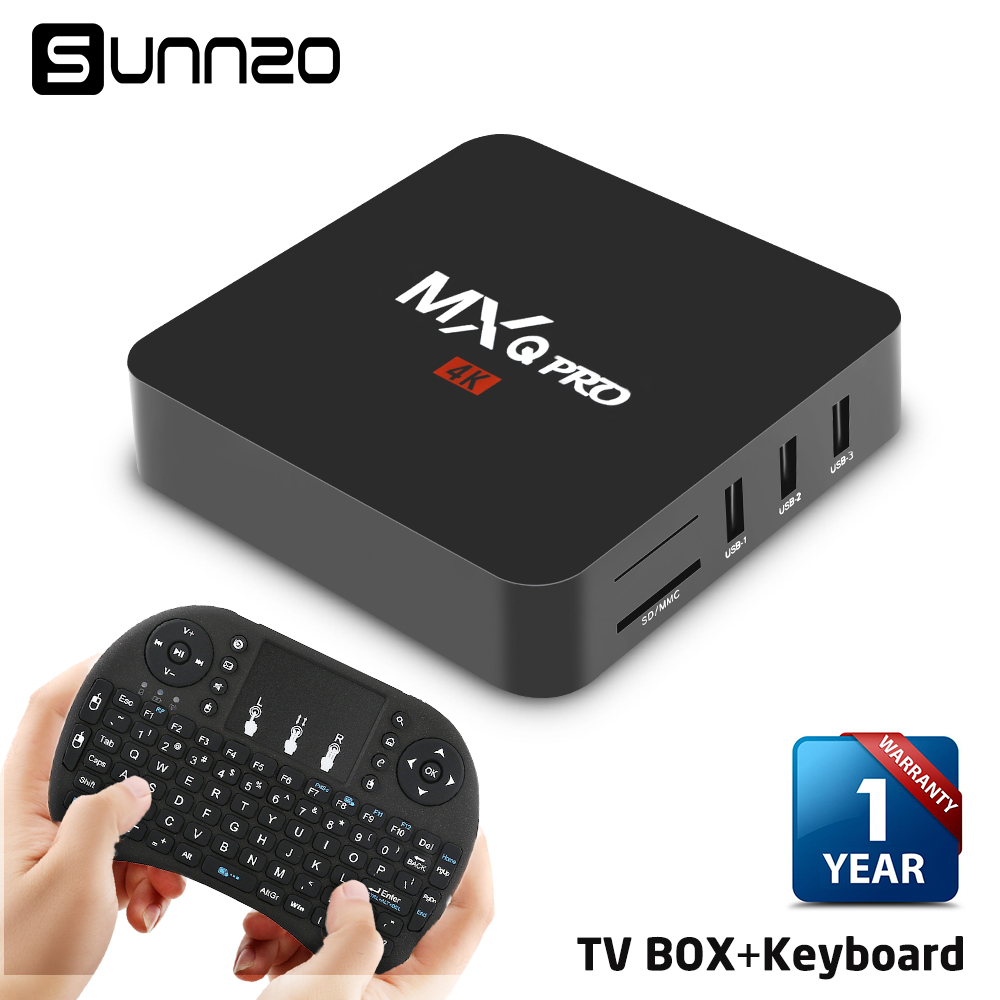 MXQ pro Set-top box Smart Android 7.1 TV BOX 1+8GB Quad Core kodi 18 tv box Streaming Media Player 4k WiFi + Wireless Keyboard mxq pro 4k ultimate hd kodi android 5 1