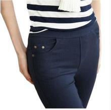 2018 Donne Più di Formato Dei Pantaloni Della Matita delle Donne Casual Capris Bianco Nero Blu Marino di Colore Femminile Toccare Il Fondo Dei Pantaloni di Marca Pantaloni Sottili