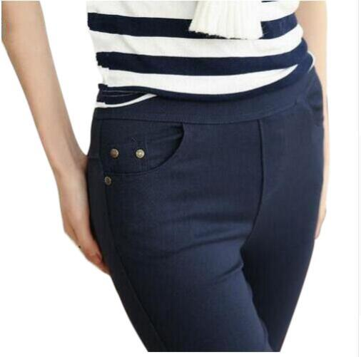 2018 Plus Size Womens Pencil Pants Women Casual Capris White Black Navy Color Female Bottoming Pants Brand Slim Trousers