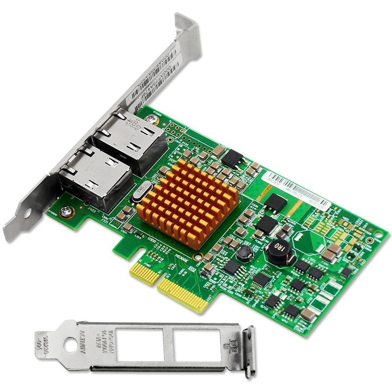 2 Port 1000Mbps Gigabit Ethernet PCI-E X4 NIC Card Chipset for BCM5709C pcie x1 4 port gigabit ethernet server card adapter 10 100 1000mbps i340 t4 esxi