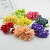 6pcs 4cm Silk Carnations Bride Artificial Flowers Wedding Partys Home Set Shoes Decorations DIY Marriage Wreaths
