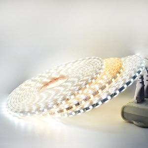 Image 5 - RGB LED şerit ışık kiti uzaktan kumanda ile kısılabilir yumuşak ışık LED bant su geçirmez AC220V SMD 5050 LED şerit esnek şerit