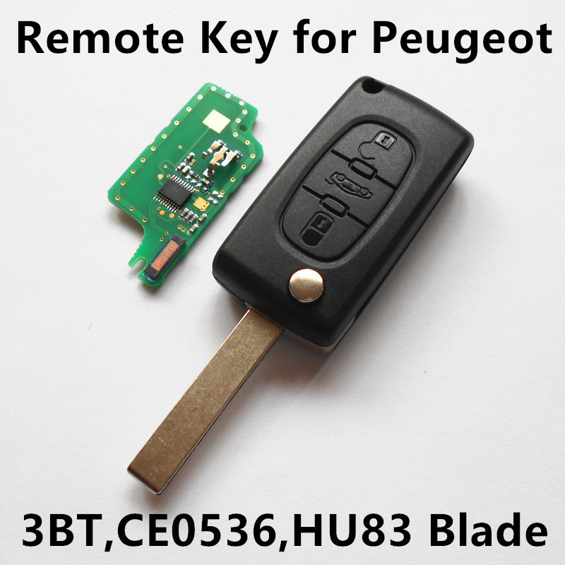3 Buttons Car Remote Key 433MHz with ID46 chip for Peugeot 207 208 307 308 407 408 508 607 Keyless Entry (CE0536 FSK/ASK) gel14032201 3 button car key silicone cover for vw peugeot citroen 307 308 407 408 black