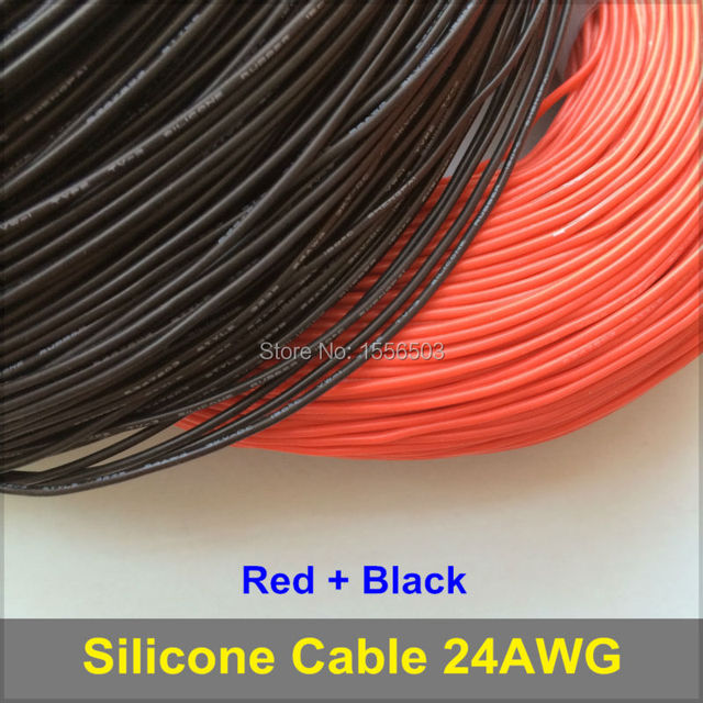 3m Red + 3m Black Silicone Rubber Wire 24AWG 3239 Insulated Cable Flexible Soft for LED Lighting Strip Extension Electronic DIY