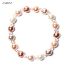 JIUDUO नई आकर्षक सफेद ताजा पानी मोती शैल कंगन फैशन आभूषण लड़की महिलाओं के लिए डिजाइन उपहार बनाना मुफ्त शिपिंग