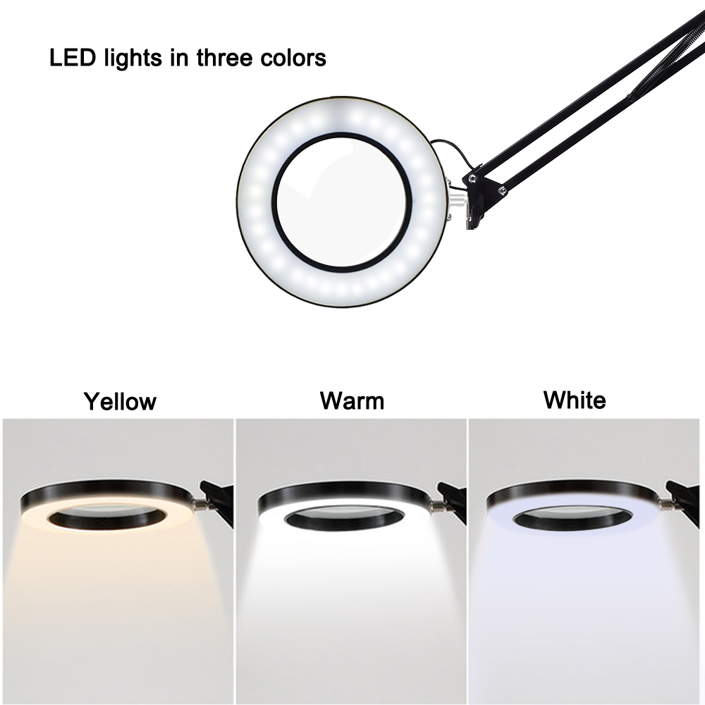 Image 3 - NEWACALOX USB 5X Illuminated Magnifier 3 Color Desk Lamp Magnifying Glass Soldering Third Hand Tool Flexible Reading Loupe-in Magnifiers from Tools