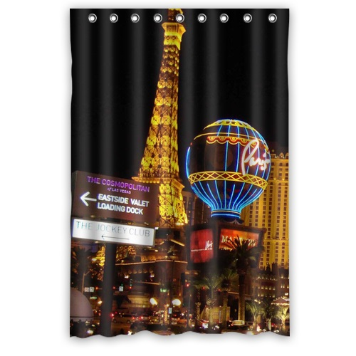 Free Shipping Waterproof Shower Curtains Print Las Vegas Nightscape Bath Curtain Polyester Fabric 122x182cm In From Home Garden