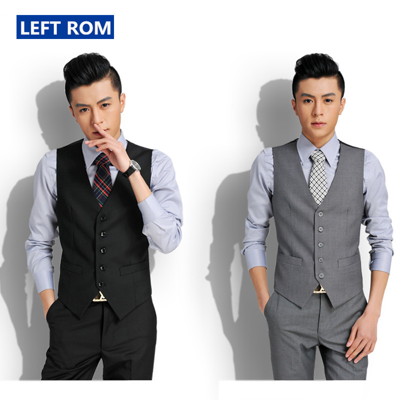 Left ROM Formal Mens Black Gray Dress Businss Suit Vest Plus 2018 New Fashion Wedding Men Slim Fit Suit Vest And Waistcoat