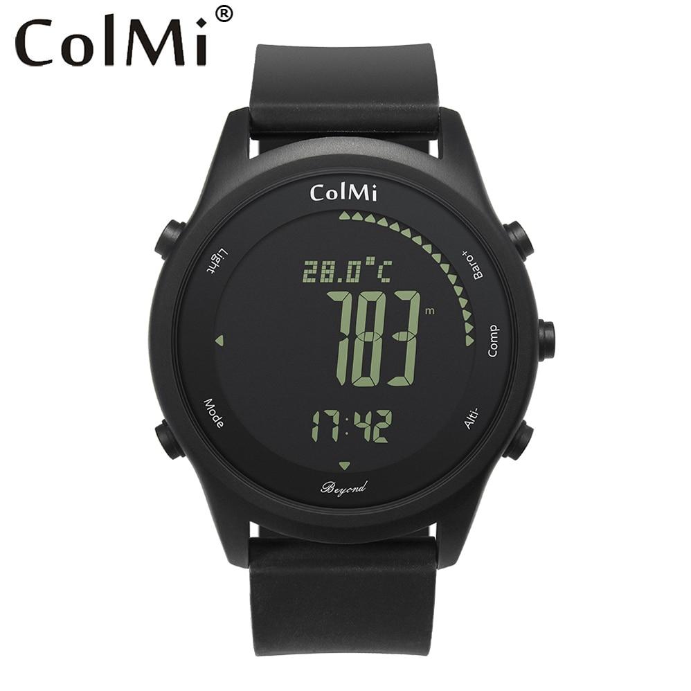 ColMi Смарт-часы за Ultra Slim круглый кожаный IP68 5ATM Водонепроницаемый компас альтиметр барометр часы для мужские и пары