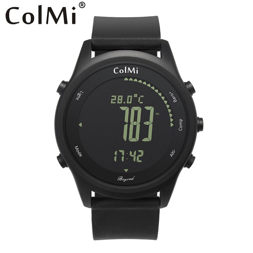 ColMi Smart Uhr Über Ultra Slim Runde Leder IP68 5ATM Wasserdicht Kompass Höhenmesser Barometer Uhr für Herren und Paare