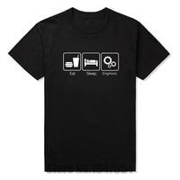 New Fashion T Shirts Eat Sleep Engineer Tshirts Cotton Short Sleeve Engineering Career Occupation Funny Technology