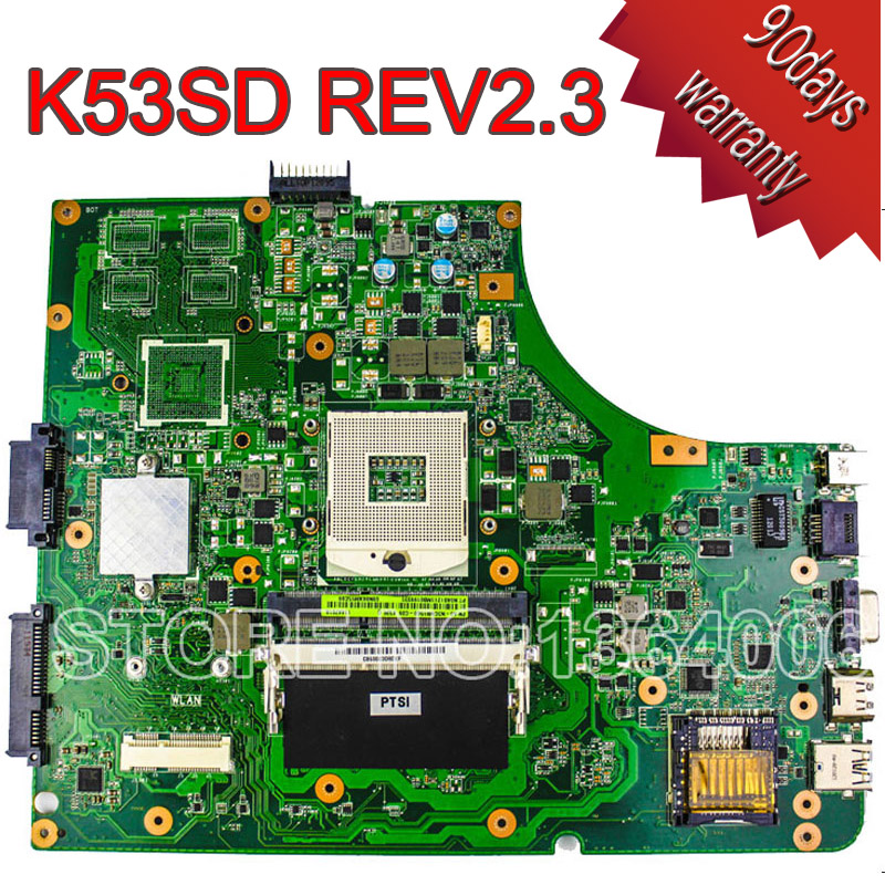 все цены на  For Asus P53E K53E laptop motherboard K53SD REV2.3 mainboard 100% tested free shipping  онлайн
