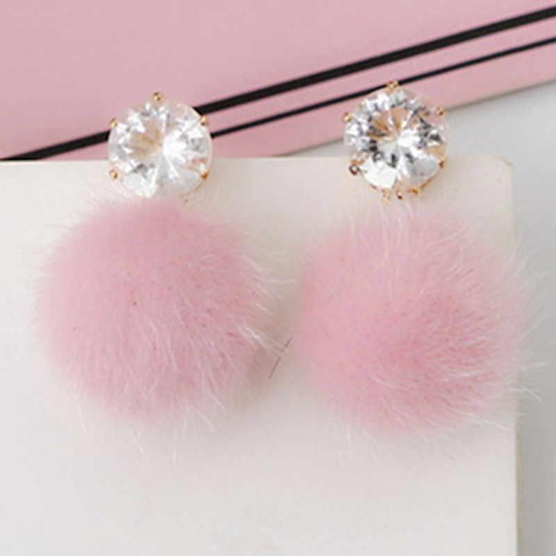 EK533 Korean Sweet Hair Ball Stud Earring For Women Jewelry Black Red Crystal Female Personality Simple Pink Plush Fur Earing