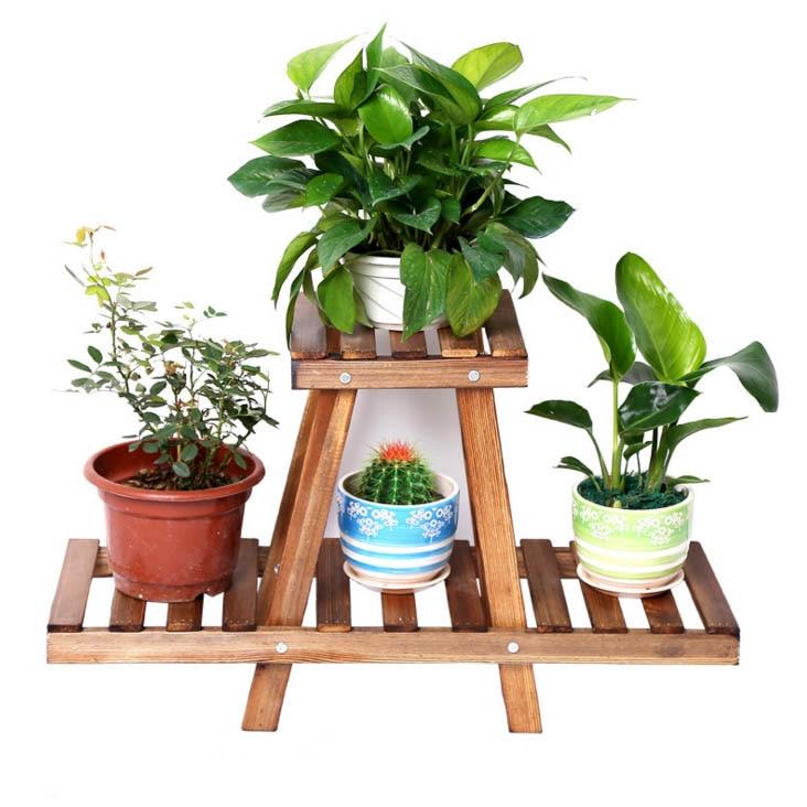 цена на Wooden Flower Plants Stand Shelf Pot Decorative Garden Patio Standing Plant Flower Pot Rack Shelf