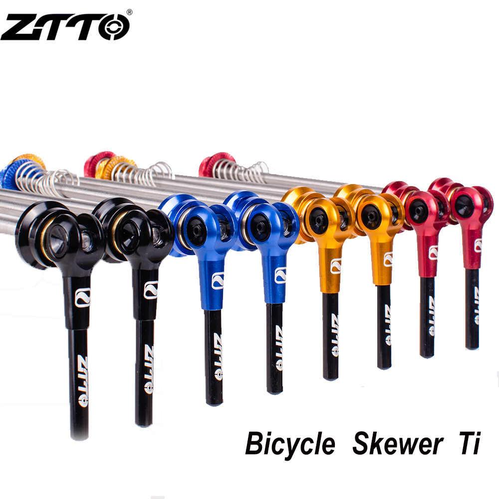 Ztto 1 par de bicicleta qr ti espetos 9mm 5mm roda 100 135hub liberação rápida espetos eixo ultraleve leve para mtb bicicleta estrada