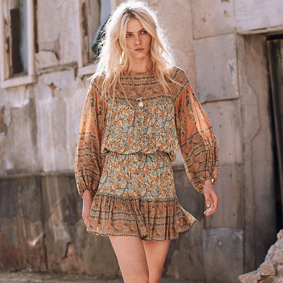 8a4539258 Boho Hippie Mini faldas para mujer 2018 verano falda de impresión gitana  cintura elástica con ...