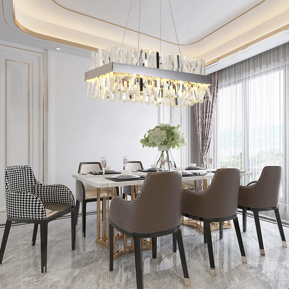 Luxury rectangle crystal chandelier lighting for dining room kitchen island  lamps hanging modern chrome led chandeliers