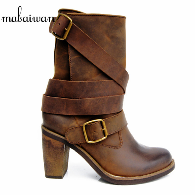 2017 Brown Genuine Leather Winter Autumn Women Boots High Heels Flat Shoes Women Booties Militares Mid Calf Martin Boots Pumps front lace up casual ankle boots autumn vintage brown new booties flat genuine leather suede shoes round toe fall female fashion