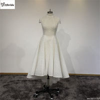 Surmount Cheap Party Dress Ivory Venice Lace High Neck Prom Dress Short sleeves Front Short Back Long Homecoming Dresses