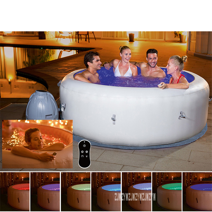 Family Portable Inflatable Hot Tub With 7 Colors LED Light 196*66cm Round Constant Temperature Heating Spa Pool 220V 2060W 806L image