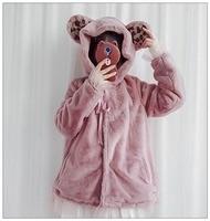Women Girls Cute Sweet Winter Coat Lolita Bear Ears Long Sleeve Gauze Hem Hooded Jacket