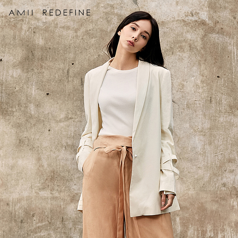 Amii Redefine Blazer Women 2018 Office Lady Solid Single Button 100% Cotton Outwear Ladies Suit Business Coat