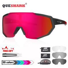 QUESHARK 2019 New Design Polarized Cycling Glasses For Man Women Bike Eyewear Cycling Sunglasses 4 Lens UV400 Sport Glasses brand fashionable uv400 protection polarized cycling eyewear bike glasses cycling glasses sport glasses 3 lens free shipping