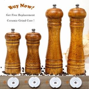 Image 2 - HIKUUI Classical Oak Wood Pepper Spice Mill Grinder Set Handheld Seasoning Mills Grinder Ceramic Grinding Core BBQ Tools Set