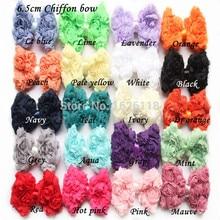 цена на Free Shipping 20pcs/lot chiffon hair rose bow flower hair accessory for Baby Headband 20colors shabby hair bow flower stock