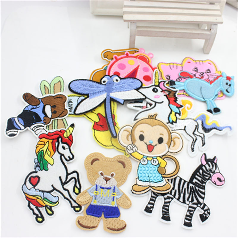 1Pc Animal Zebra Unicorn Cat Dog Embroidery Patch Stitching Badge Sticker DIY Apparel Accessories
